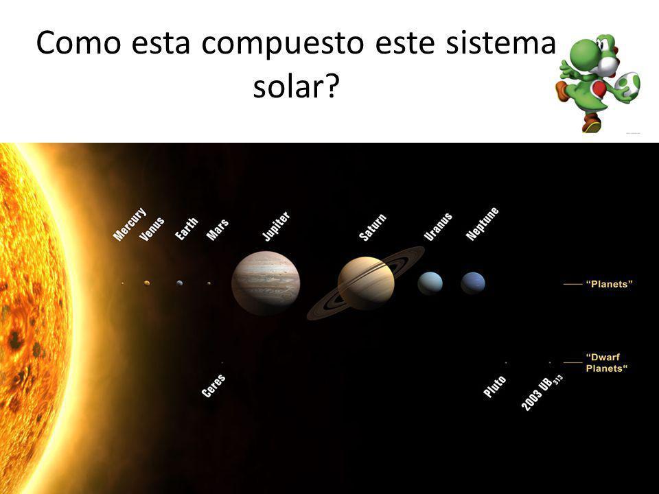 Composicion del sistema Esta formado por una estrella central, cuerpo principal que domina en gravedad y respecto al cual todos los objetos se mueven describiendo orbitas bien definidas 8 planetas 4 Terrestres (Formados por Roca) 4 Gigantes Gaseosos (Formados ppalmente por gas) Se define a un planeta a un cuerpo que cumple con las siguientes condiciones: 1) un cuerpo celeste que orbita alrededor del la estrella ppal 2) Tiene suficiente masa para que su gravedad supere las fuerzas del cuerpo rígido, de manera que asuma una forma en equilibrio hidrostático (prácticamente esférica).