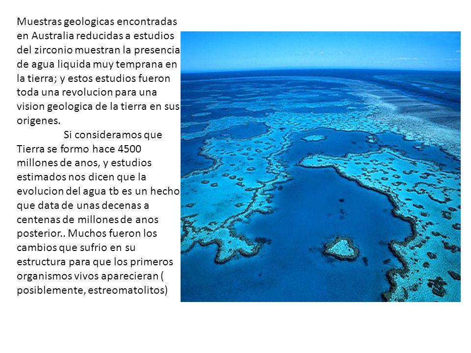 Muestras geologicas encontradas en Australia reducidas a estudios del zirconio muestran la presencia de agua liquida muy temprana en la tierra; y estos estudios fueron toda una revolucion para una vision geologica de la tierra en sus origenes.