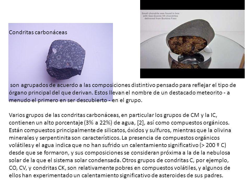 Condritas carbonáceas son agrupados de acuerdo a las composiciones distintivo pensado para reflejar el tipo de órgano principal del que derivan. Estos