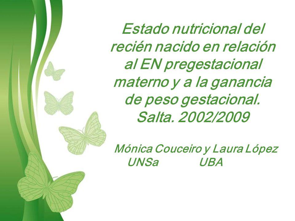 Free Powerpoint TemplatesPage 1Free Powerpoint Templates Estado nutricional del recién nacido en relación al EN pregestacional materno y a la ganancia de peso gestacional.