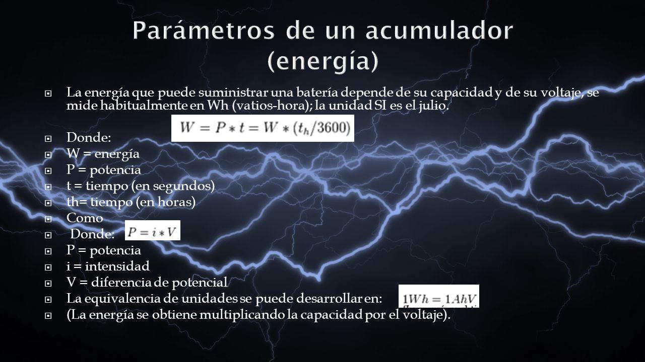 La energía que puede suministrar una batería depende de su capacidad y de su voltaje, se mide habitualmente en Wh (vatios-hora); la unidad SI es el ju
