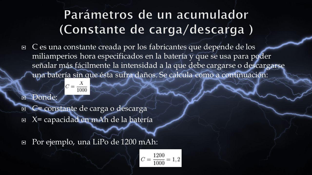 C es una constante creada por los fabricantes que depende de los miliamperios hora especificados en la batería y que se usa para poder señalar más fác