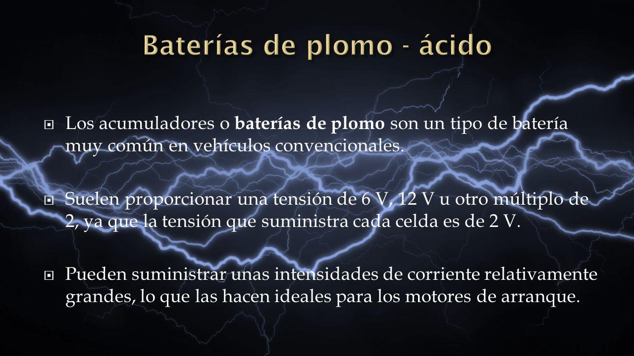 Los acumuladores o baterías de plomo son un tipo de batería muy común en vehículos convencionales. Suelen proporcionar una tensión de 6 V, 12 V u otro