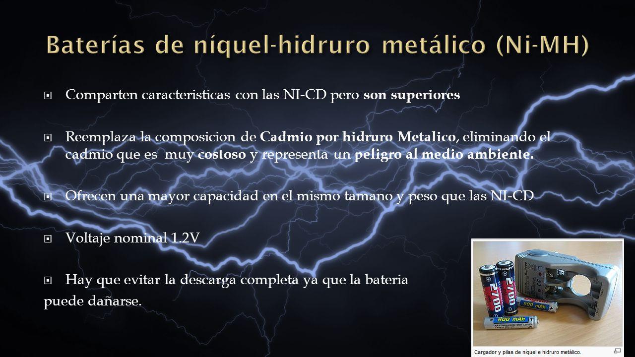 Comparten caracteristicas con las NI-CD pero son superiores Reemplaza la composicion de Cadmio por hidruro Metalico, eliminando el cadmio que es muy c