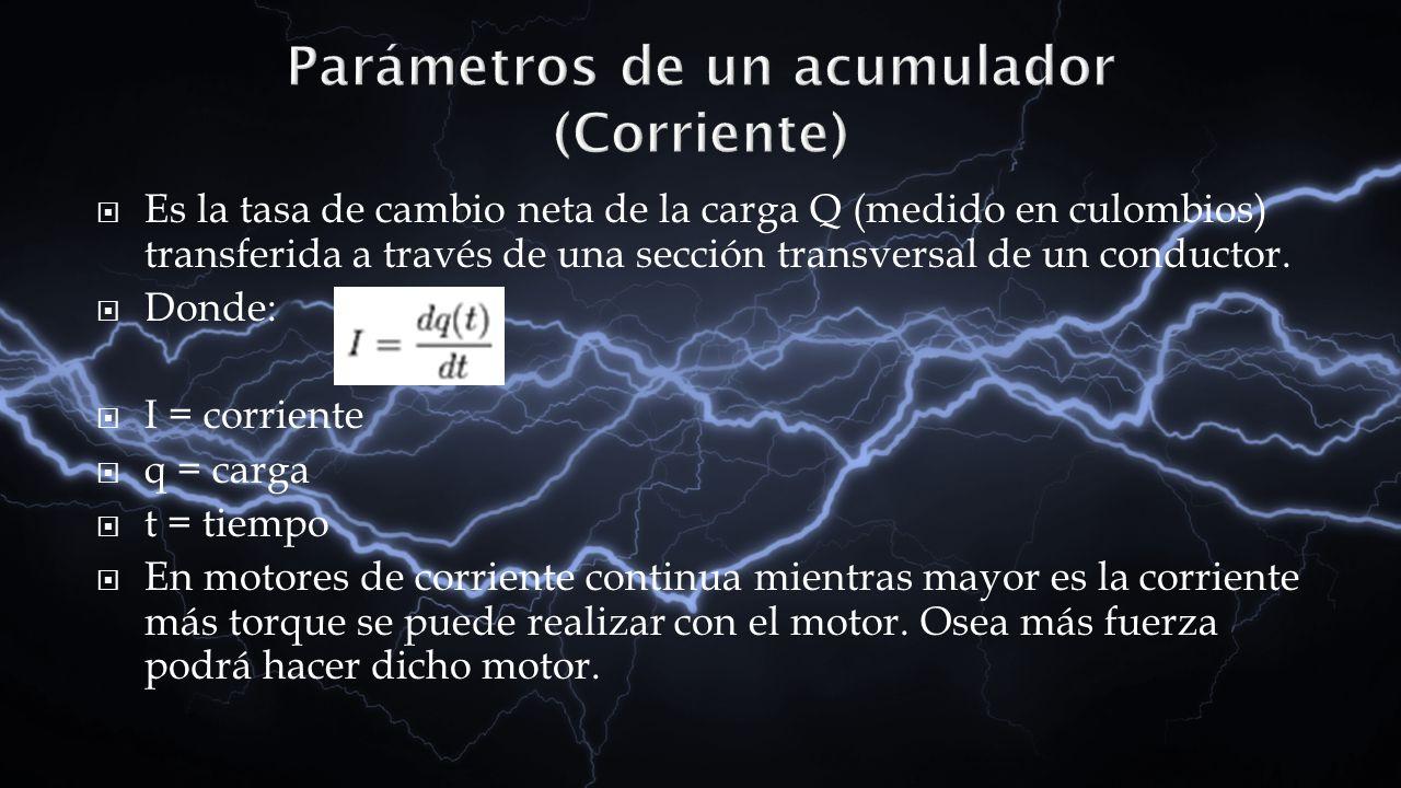 Es la tasa de cambio neta de la carga Q (medido en culombios) transferida a través de una sección transversal de un conductor. Donde: I = corriente q