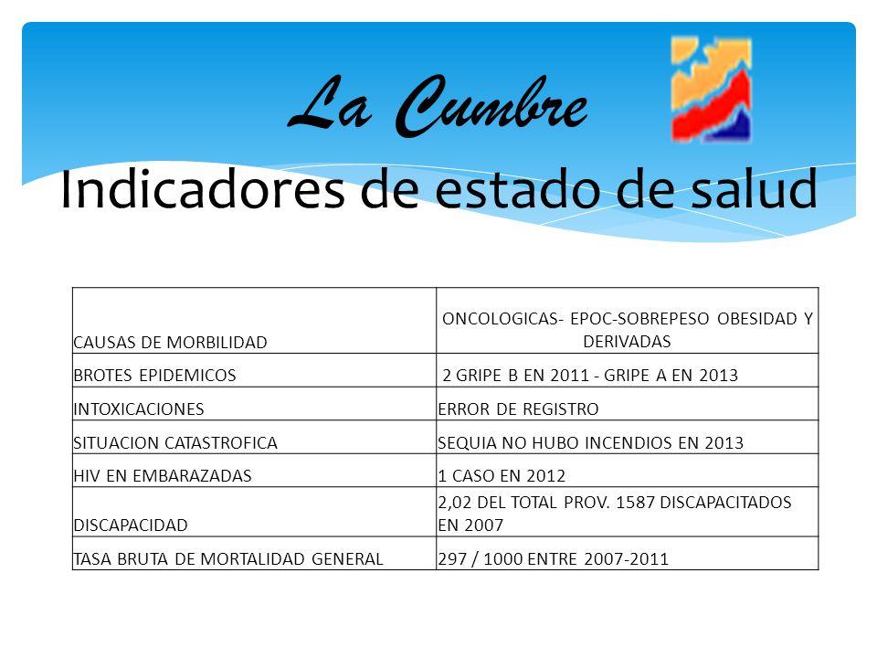 La Cumbre Indicadores de estado de salud CAUSAS DE MORBILIDAD ONCOLOGICAS- EPOC-SOBREPESO OBESIDAD Y DERIVADAS BROTES EPIDEMICOS 2 GRIPE B EN 2011 - G