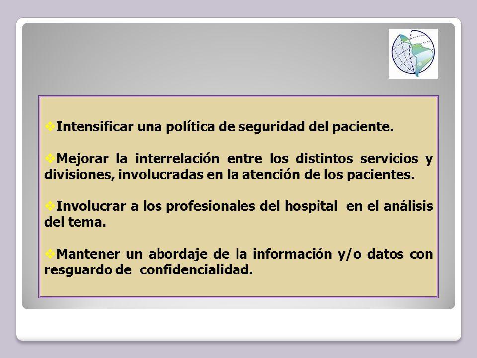 Intensificar una política de seguridad del paciente.
