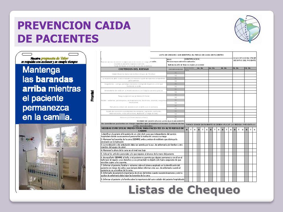 PREVENCION CAIDA DE PACIENTES Listas de Chequeo