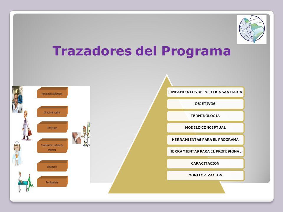 LINEAMIENTOS DE POLITICA SANITARIAOBJETIVOSTERMINOLOGIAMODELO CONCEPTUALHERRAMIENTAS PARA EL PROGRAMAHERRAMIENTAS PARA EL PROFESIONALCAPACITACIONMONITORIZACION Trazadores del Programa