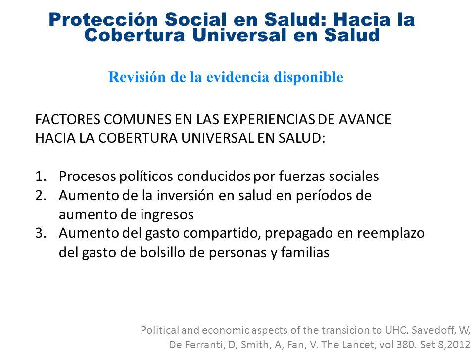 Protección Social en Salud: Hacia la Cobertura Universal en Salud Revisión de la evidencia disponible FACTORES COMUNES EN LAS EXPERIENCIAS DE AVANCE H