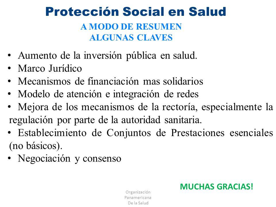 Organización Panamericana De la Salud Protección Social en Salud A MODO DE RESUMEN ALGUNAS CLAVES Aumento de la inversión pública en salud. Marco Jurí