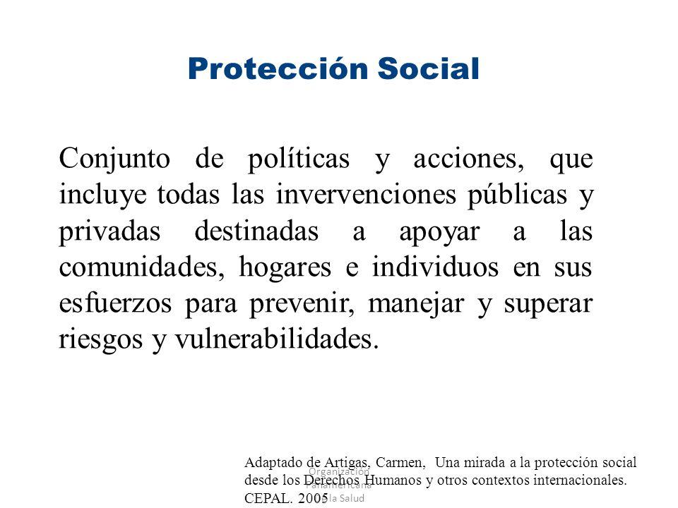 Organización Panamericana De la Salud Protección Social Conjunto de políticas y acciones, que incluye todas las invervenciones públicas y privadas des