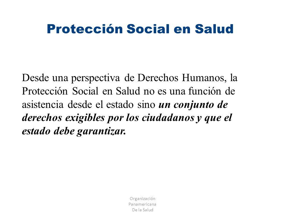 Organización Panamericana De la Salud Protección Social en Salud Desde una perspectiva de Derechos Humanos, la Protección Social en Salud no es una fu