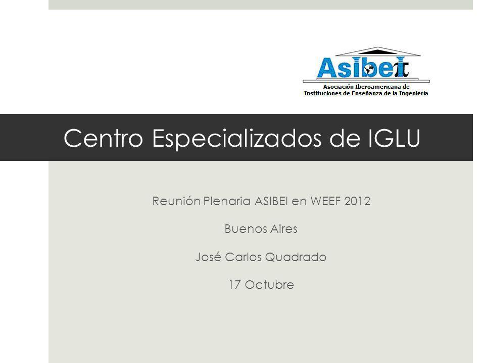 Centro Especializados de IGLU Reunión Plenaria ASIBEI en WEEF 2012 Buenos Aires José Carlos Quadrado 17 Octubre