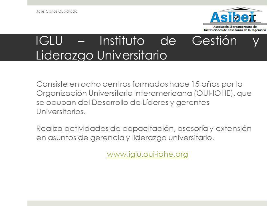 IGLU – Instituto de Gestión y Liderazgo Universitario Consiste en ocho centros formados hace 15 años por la Organización Universitaria Interamericana (OUI-IOHE), que se ocupan del Desarrollo de Líderes y gerentes Universitarios.