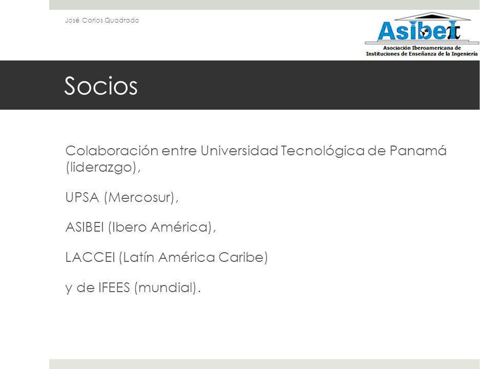 Socios Colaboración entre Universidad Tecnológica de Panamá (liderazgo), UPSA (Mercosur), ASIBEI (Ibero América), LACCEI (Latín América Caribe) y de IFEES (mundial).