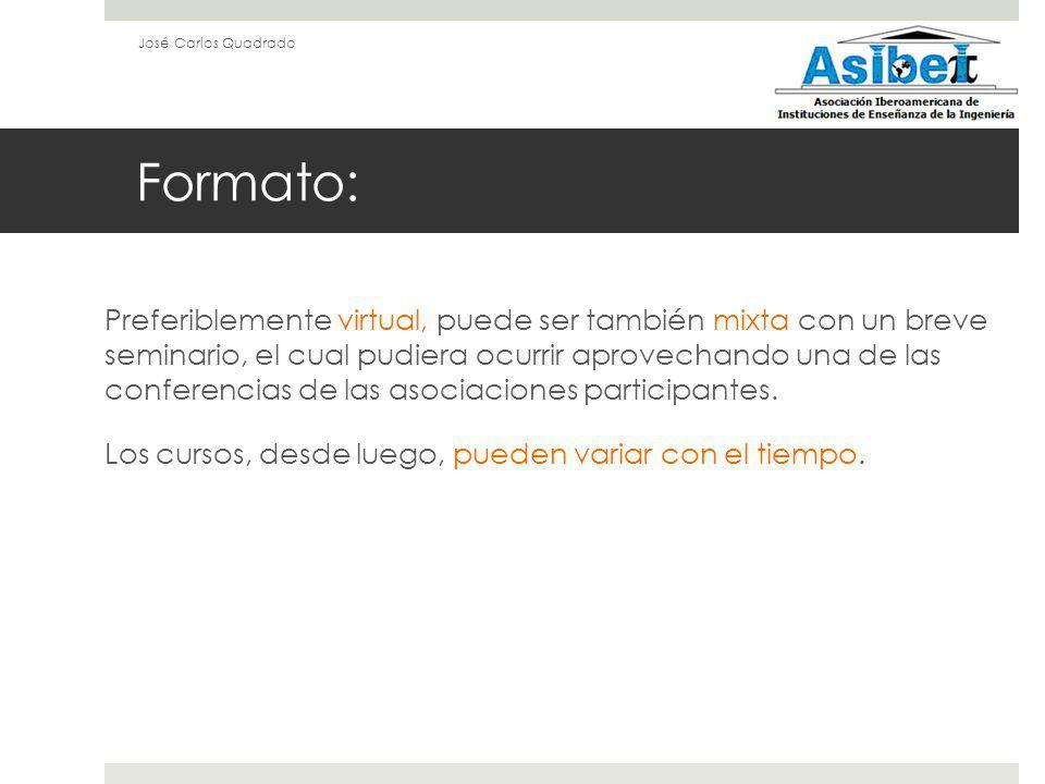 Formato: Preferiblemente virtual, puede ser también mixta con un breve seminario, el cual pudiera ocurrir aprovechando una de las conferencias de las asociaciones participantes.