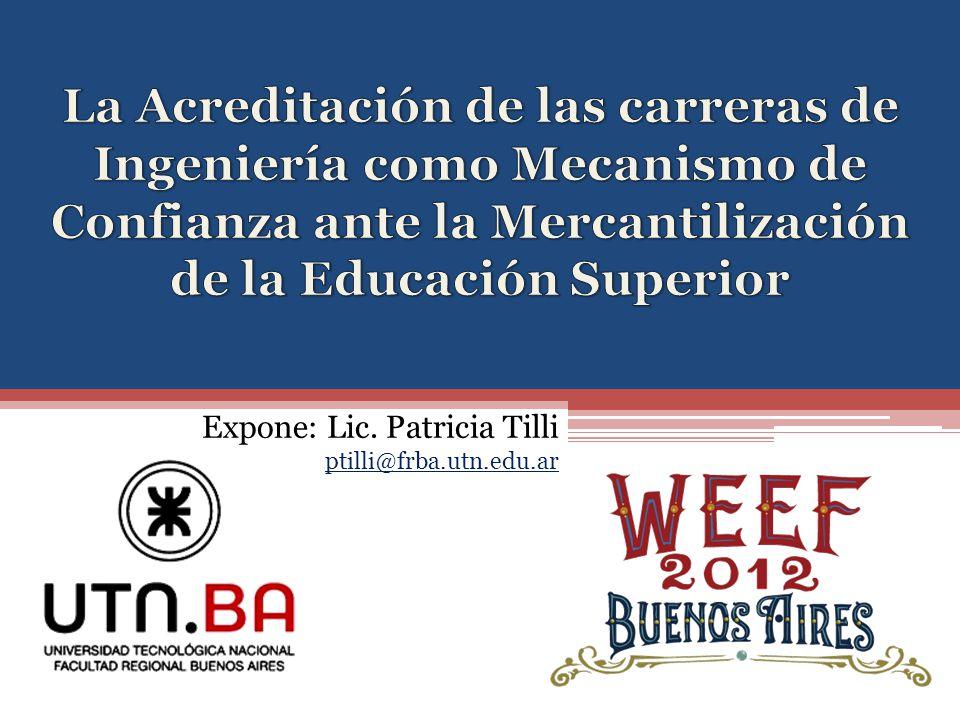 Expone: Lic. Patricia Tilli ptilli@frba.utn.edu.ar