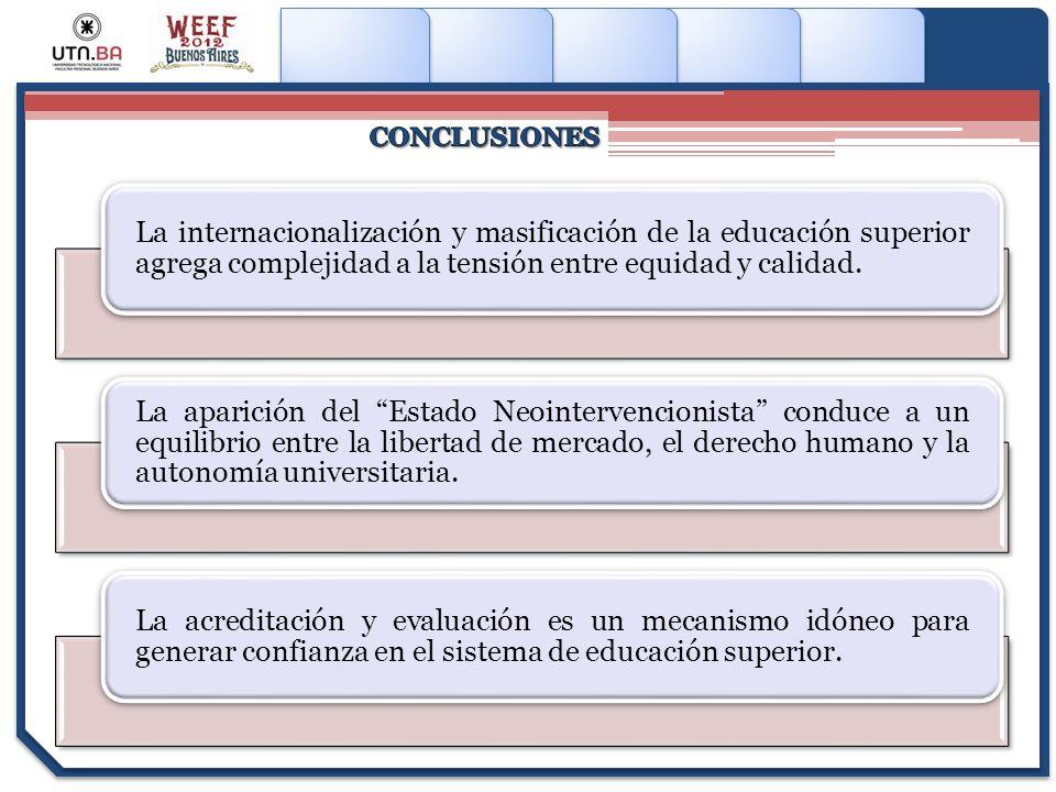 La internacionalización y masificación de la educación superior agrega complejidad a la tensión entre equidad y calidad. La aparición del Estado Neoin