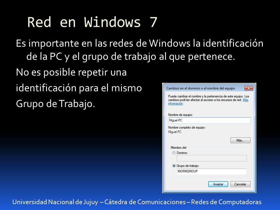 Universidad Nacional de Jujuy – Cátedra de Comunicaciones – Redes de Computadoras Es importante en las redes de Windows la identificación de la PC y el grupo de trabajo al que pertenece.