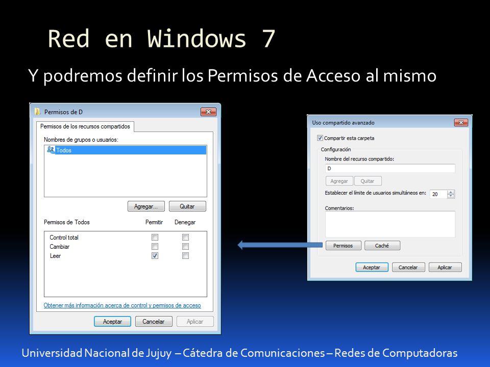 Universidad Nacional de Jujuy – Cátedra de Comunicaciones – Redes de Computadoras Y podremos definir los Permisos de Acceso al mismo Red en Windows 7