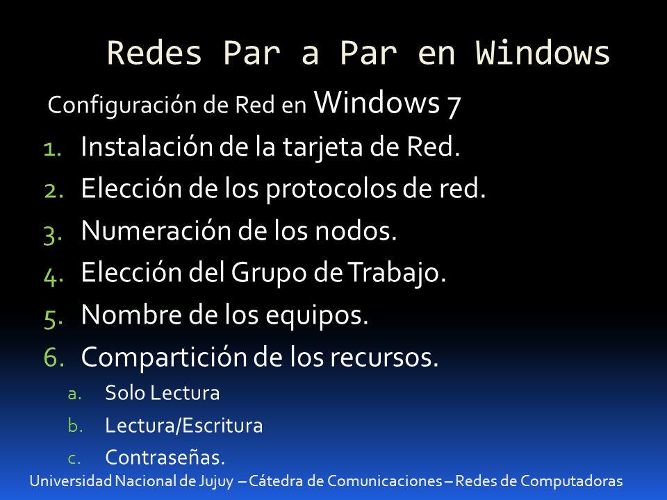 Redes Par a Par en Windows Universidad Nacional de Jujuy – Cátedra de Comunicaciones – Redes de Computadoras Configuración de Red en Windows 7 1.