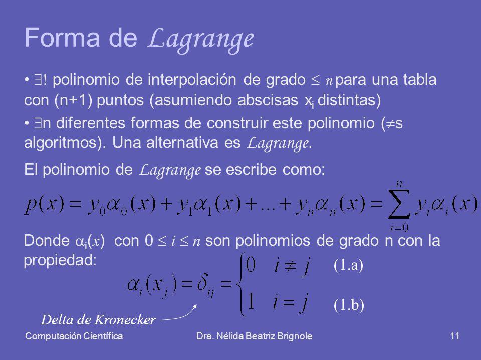 Computación CientíficaDra. Nélida Beatriz Brignole11 Forma de Lagrange polinomio de interpolación de grado n para una tabla con (n+1) puntos (asumiend