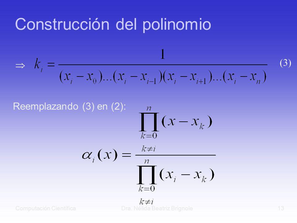 Computación CientíficaDra. Nélida Beatriz Brignole13 Construcción del polinomio Reemplazando (3) en (2): (3)