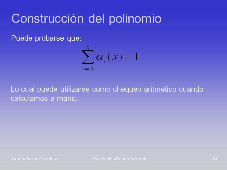 Computación CientíficaDra. Nélida Beatriz Brignole14 Construcción del polinomio Puede probarse que: Lo cual puede utilizarse como chequeo aritmético c