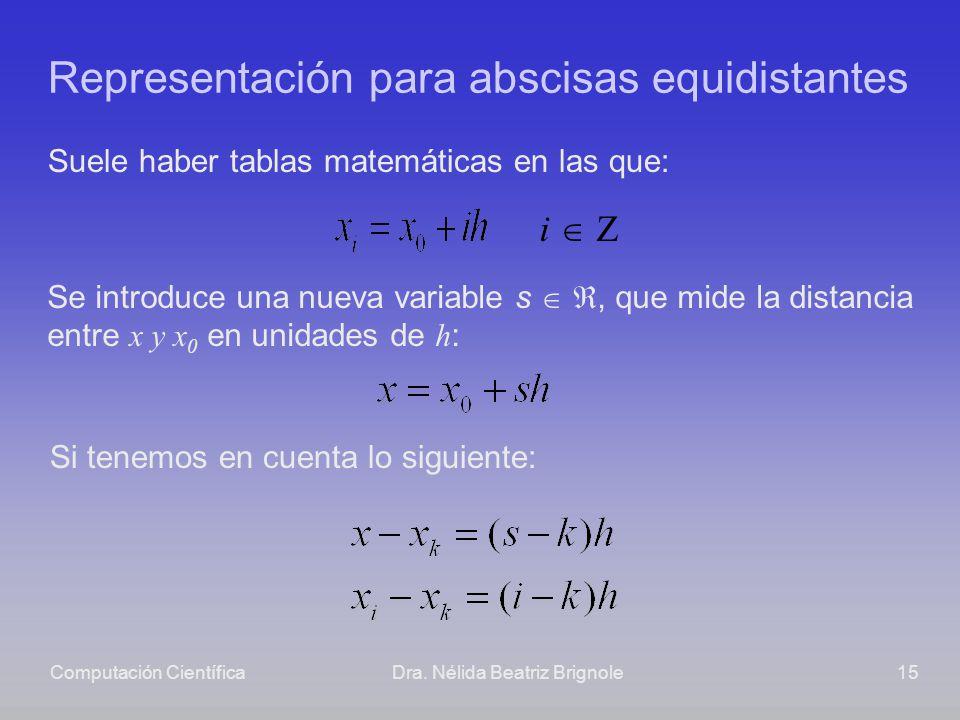 Computación CientíficaDra. Nélida Beatriz Brignole15 Representación para abscisas equidistantes Suele haber tablas matemáticas en las que: Se introduc