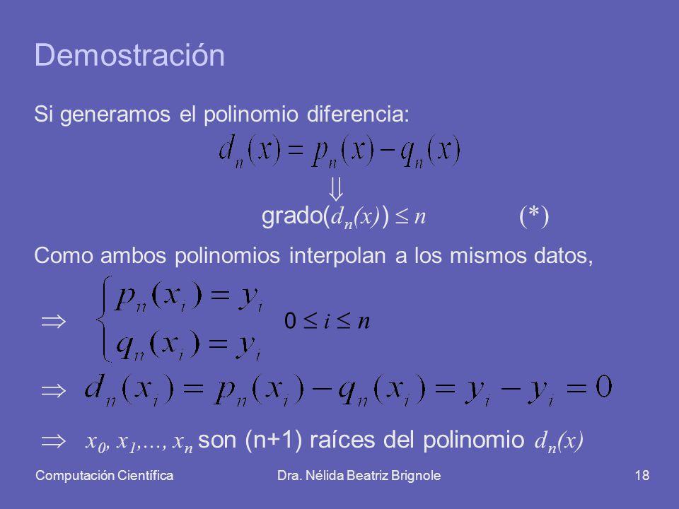 Computación CientíficaDra. Nélida Beatriz Brignole18 Demostración Si generamos el polinomio diferencia: grado( d n (x) ) n (*) Como ambos polinomios i