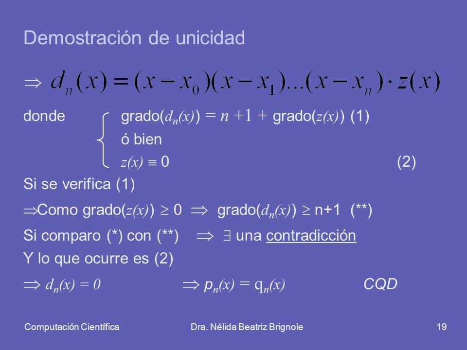 Computación CientíficaDra. Nélida Beatriz Brignole19 Demostración de unicidad donde grado( d n (x) ) = n +1 + grado( z(x) )(1) ó bien z(x) 0(2) Si se