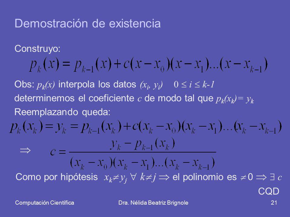 Computación CientíficaDra. Nélida Beatriz Brignole21 Demostración de existencia Construyo: Obs: p k (x) interpola los datos (x i, y i ) 0 i k-1 determ