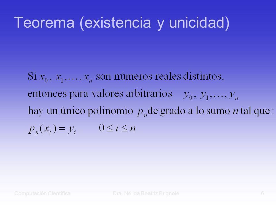 Computación CientíficaDra. Nélida Beatriz Brignole6 Teorema (existencia y unicidad)