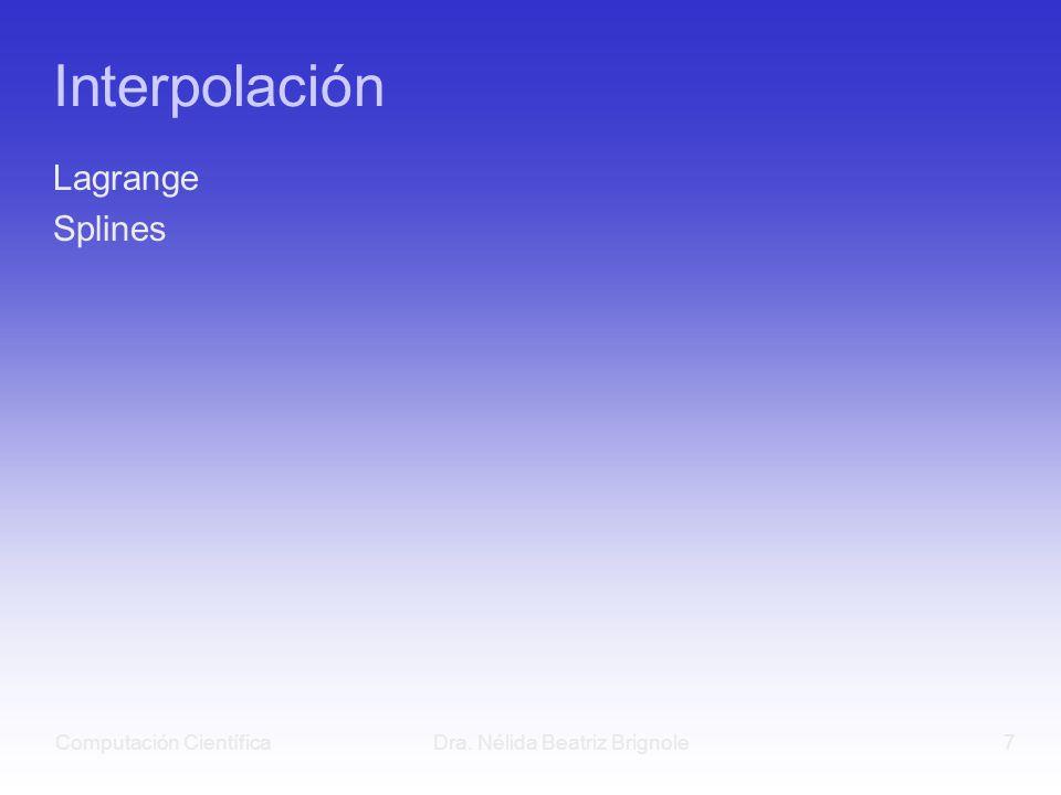Computación CientíficaDra. Nélida Beatriz Brignole7 Interpolación Lagrange Splines
