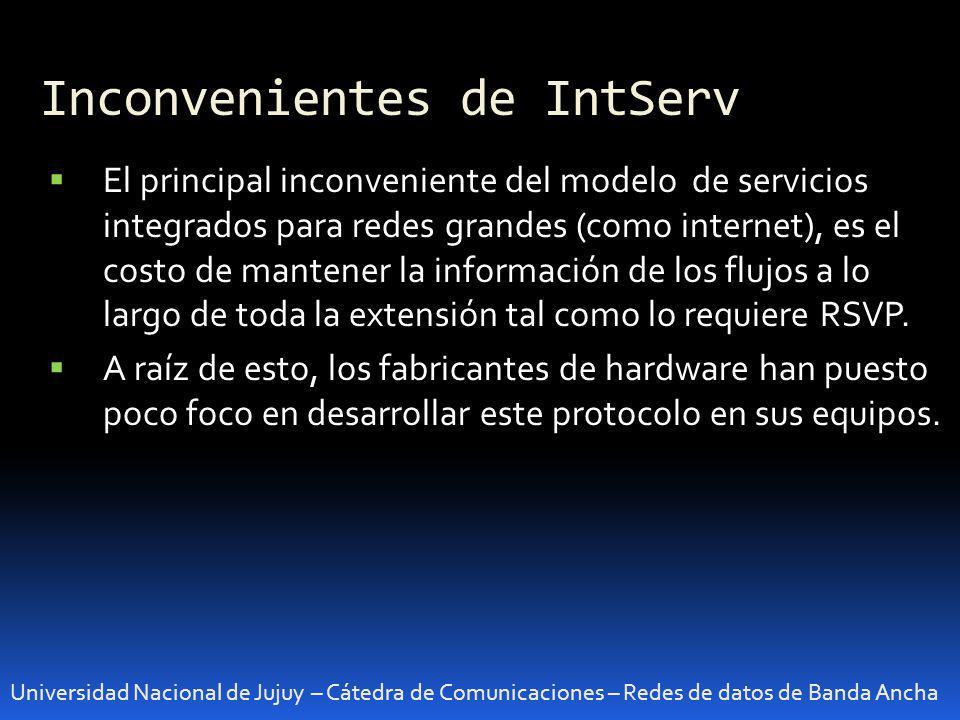 Inconvenientes de IntServ Universidad Nacional de Jujuy – Cátedra de Comunicaciones – Redes de datos de Banda Ancha El principal inconveniente del mod
