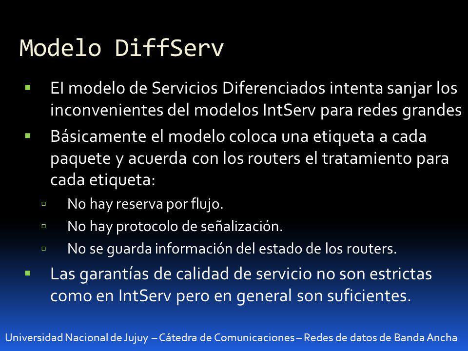 Modelo DiffServ Universidad Nacional de Jujuy – Cátedra de Comunicaciones – Redes de datos de Banda Ancha EI modelo de Servicios Diferenciados intenta