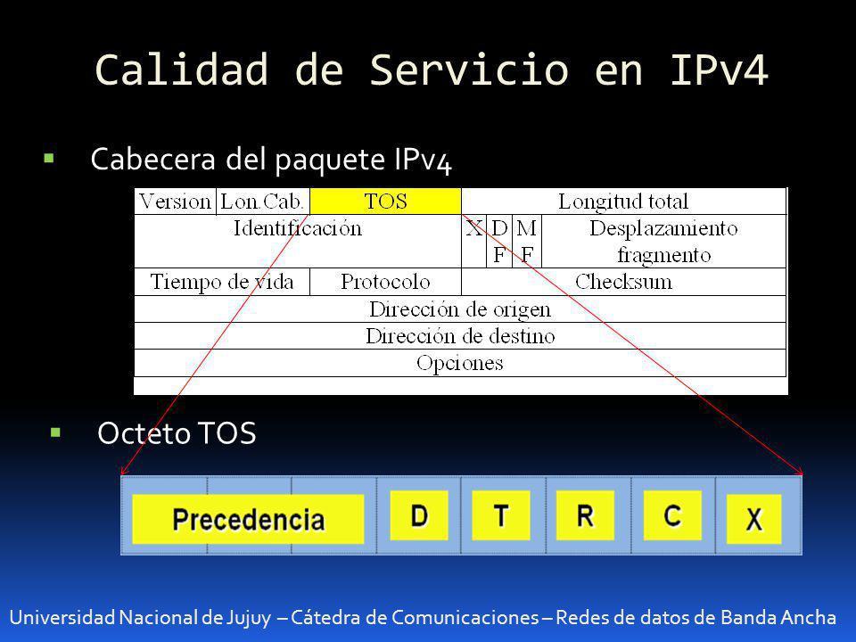 Calidad de Servicio en IPv4 Universidad Nacional de Jujuy – Cátedra de Comunicaciones – Redes de datos de Banda Ancha Cabecera del paquete IPv4 Octeto