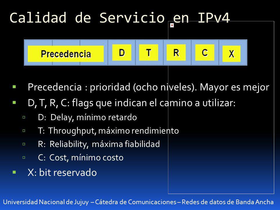 Calidad de Servicio en IPv4 Universidad Nacional de Jujuy – Cátedra de Comunicaciones – Redes de datos de Banda Ancha Precedencia : prioridad (ocho ni