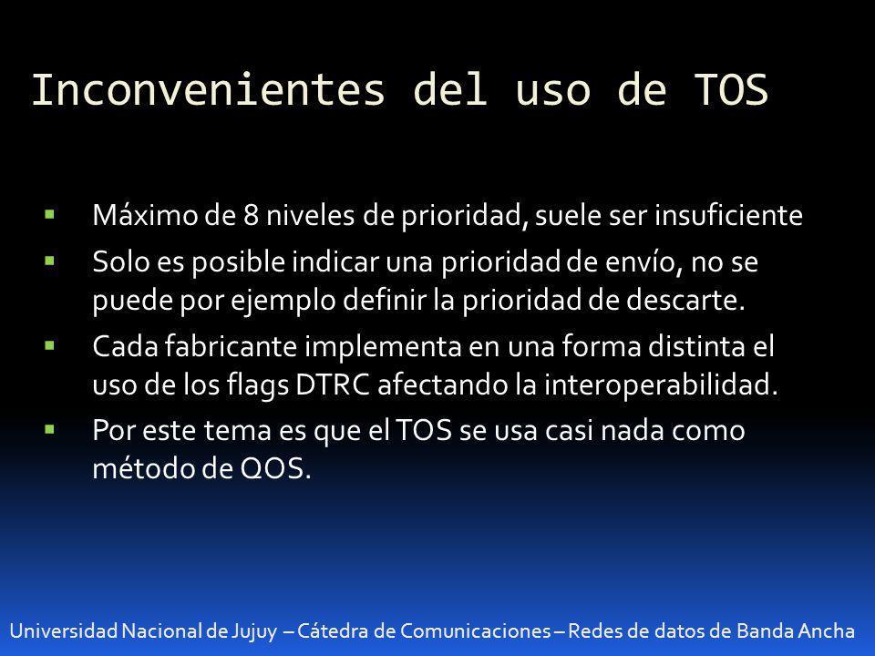 Inconvenientes del uso de TOS Universidad Nacional de Jujuy – Cátedra de Comunicaciones – Redes de datos de Banda Ancha Máximo de 8 niveles de priorid