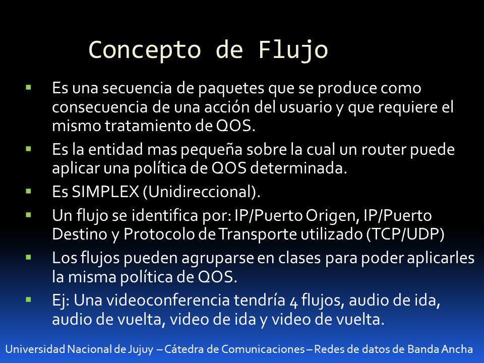 Concepto de Flujo Universidad Nacional de Jujuy – Cátedra de Comunicaciones – Redes de datos de Banda Ancha Es una secuencia de paquetes que se produc