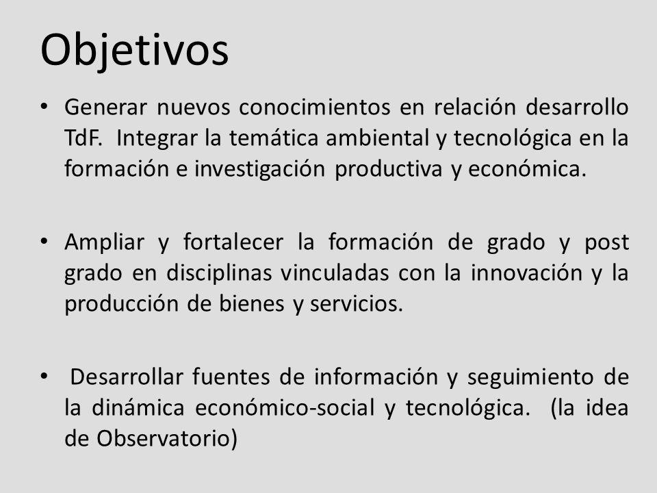 Objetivos Generar nuevos conocimientos en relación desarrollo TdF.