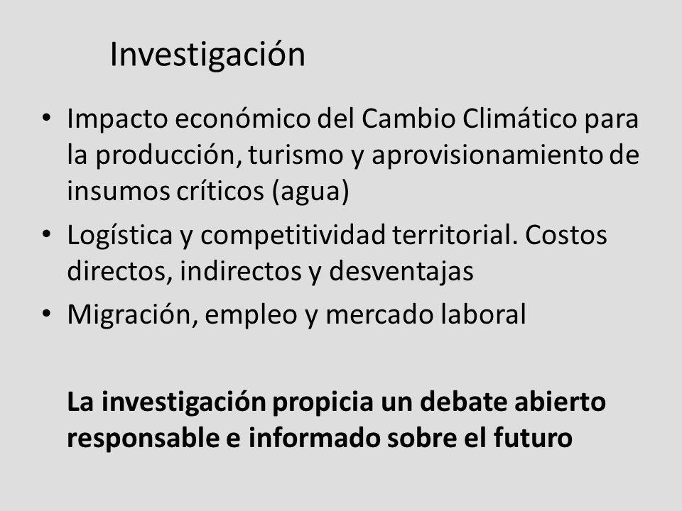 Investigación Impacto económico del Cambio Climático para la producción, turismo y aprovisionamiento de insumos críticos (agua) Logística y competitividad territorial.