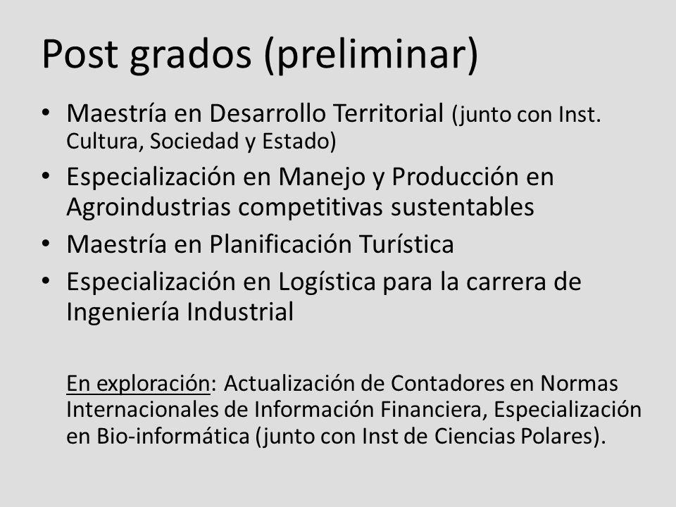 Post grados (preliminar) Maestría en Desarrollo Territorial (junto con Inst.