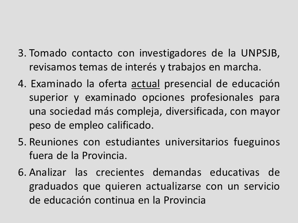 3.Tomado contacto con investigadores de la UNPSJB, revisamos temas de interés y trabajos en marcha.