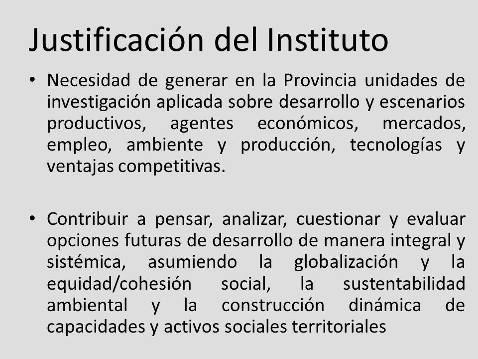 Justificación del Instituto Necesidad de generar en la Provincia unidades de investigación aplicada sobre desarrollo y escenarios productivos, agentes económicos, mercados, empleo, ambiente y producción, tecnologías y ventajas competitivas.