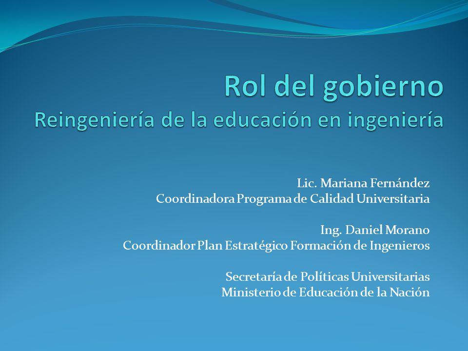 Lic. Mariana Fernández Coordinadora Programa de Calidad Universitaria Ing.