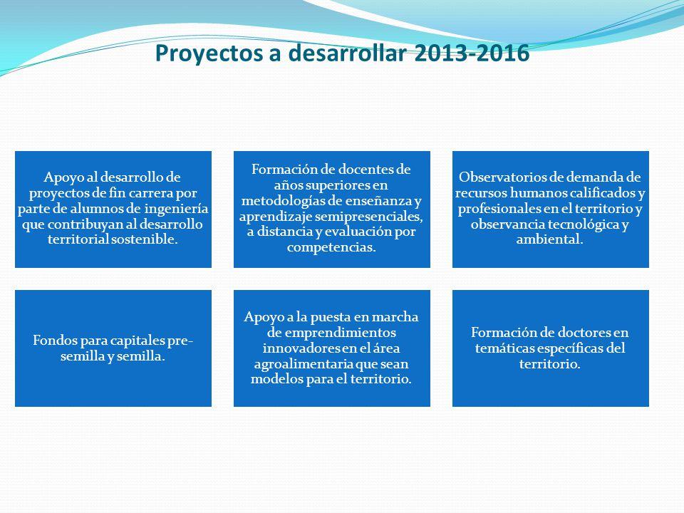 Proyectos a desarrollar 2013-2016 Apoyo al desarrollo de proyectos de fin carrera por parte de alumnos de ingeniería que contribuyan al desarrollo territorial sostenible.