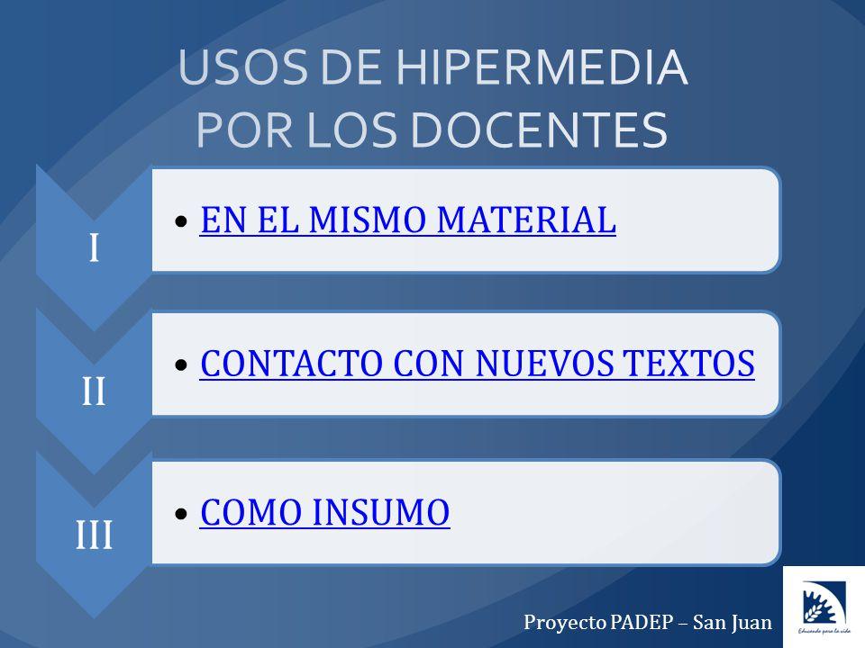 I EN EL MISMO MATERIAL II CONTACTO CON NUEVOS TEXTOS III COMO INSUMO Proyecto PADEP – San Juan