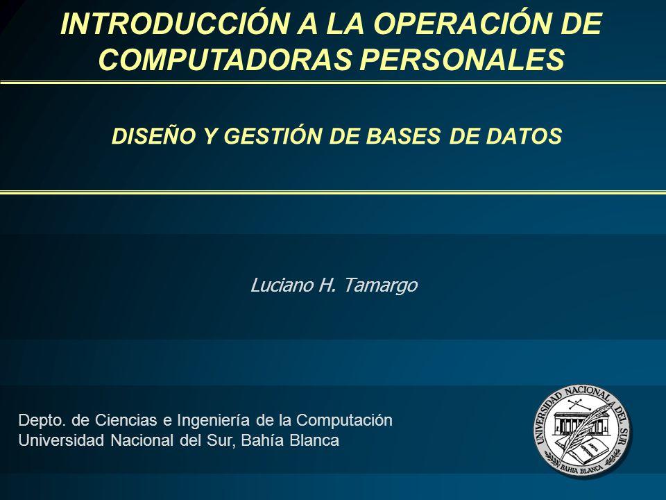 DISEÑO Y GESTIÓN DE BASES DE DATOS Luciano H. Tamargo Depto.